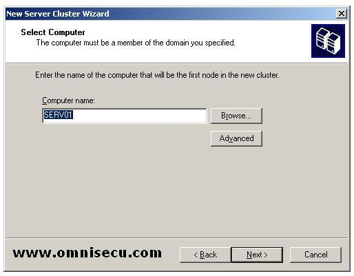 New Cluster wizard select computer