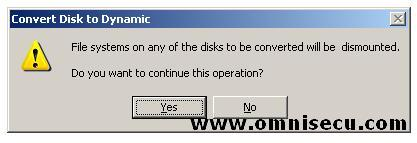 Convert to dynamic disks file system unmount
