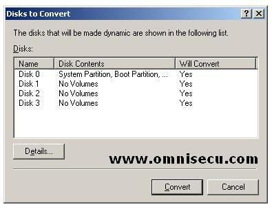 Convert to dynamic disks to convert