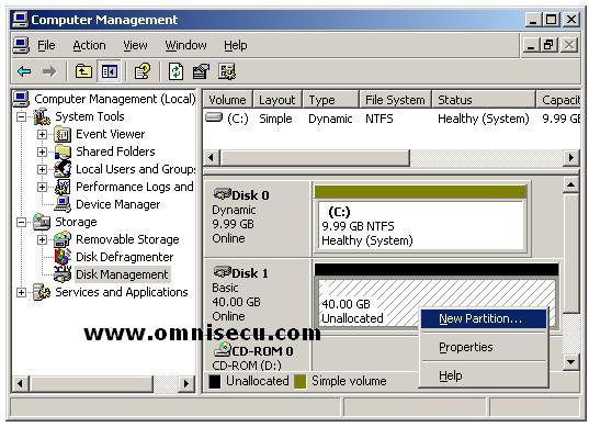 Disk Management MMC snapin context menu new basic partition