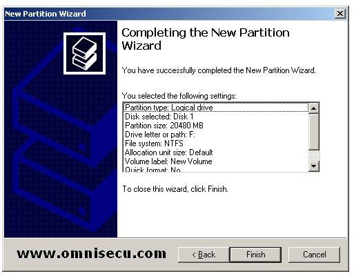 Logical drive completing the new partition wizard