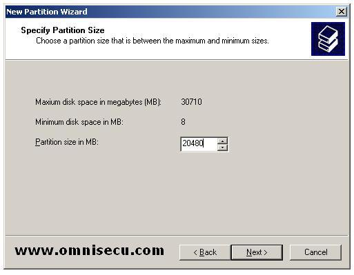 Logical drive new partition wizard specify partition size