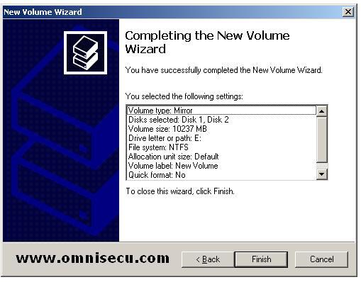 mirrored completing the new volume wizard