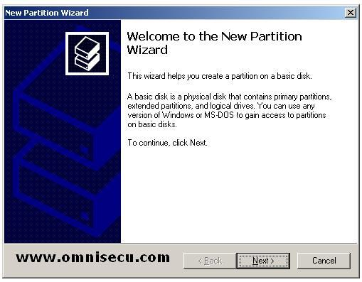 New partition wizard