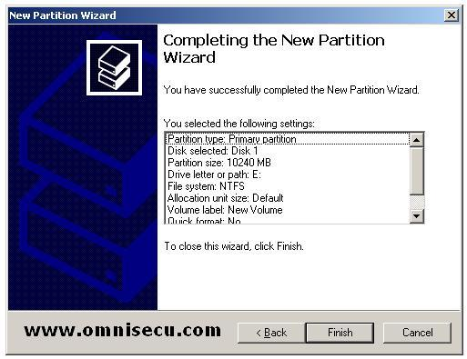 Primary completing the new partition wizard