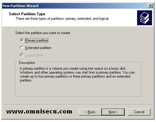 Primary New partition wizard select partition type