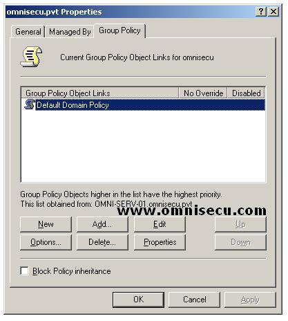 Active Directory Domain Properties Group Policy Tab