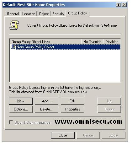 Active Directory Site New Group Policy