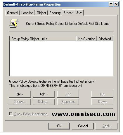 Active Directory Site Properties Group Policy Tab