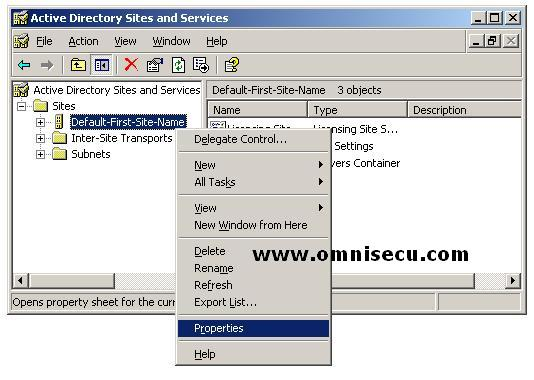 Active Directory Site Properties