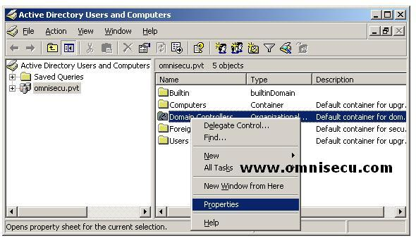 Domain Controllers Organizational Unit Properties