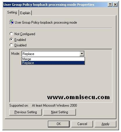 User Group Policy Loopback Processing Mode Properties