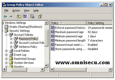 Active Directory Domain User Password policy Settings