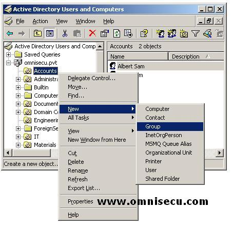 Active Directory Users and Computers New Group