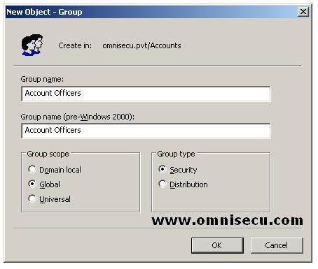 Active Directory Users and computers new object group dialog