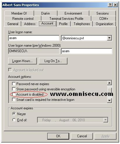 Enable Disable Active Directory Domain User Account