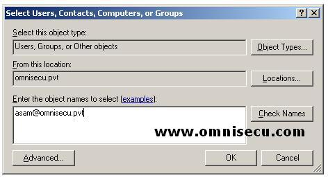 Select Users Contacts Computers Groups dialog