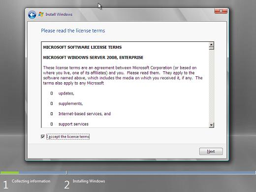 Windows 2008 installation accept licence terms