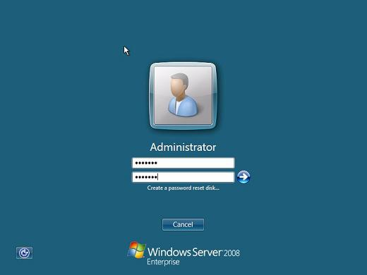 Windows 2008 installation enter confirm administrator password
