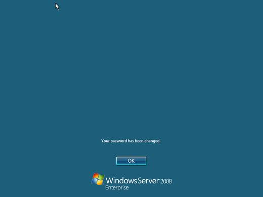 Windows 2008 installation password changed