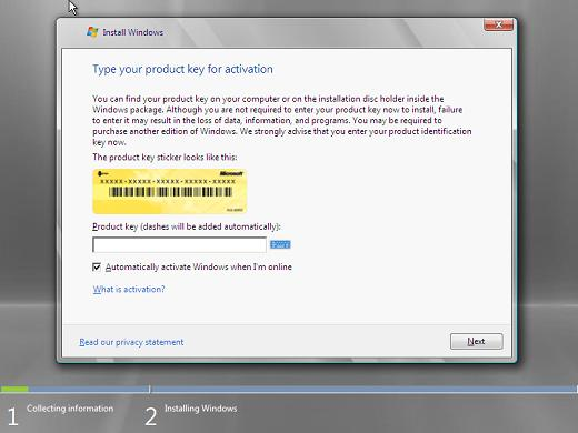 Windows 2008 installation product key