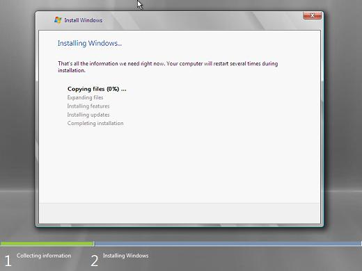 Windows 2008 installation progress
