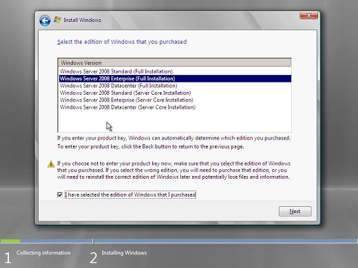Windows 2008 installation select edition