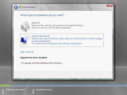 Windows 2008 installation type