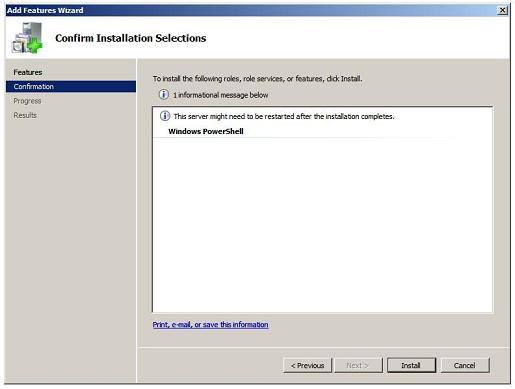 PowerShell installation Confirm Installation Selections Screen