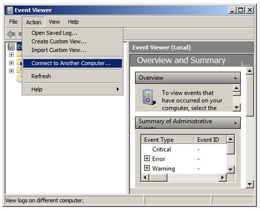 Event Viewer MMC snap-in action connect to another computer