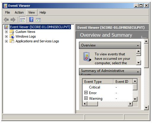 Event Viewer MMC snap-in remote server core