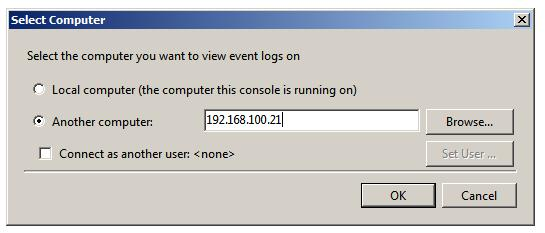 Event Viewer MMC snap-in select computer